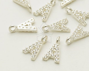 IN-398-SS / 1 Pcs - New CZ Initial Pendant, Letter Charm, Alphabet, Upper case, A, 925 Sterling Silver / 5mm x 5.5mm