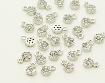 PD-1248-OR / 2 Pcs - Tiny Mini CZ Charm Pendant (Round), Small Round Pendant, Silver Plated over ...