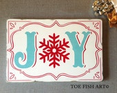 SALE!! JOY Christmas sign - Ready to ship Hand Painted  Typography Word Art on Wood