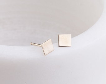 Tiny Gold Square Stud Earrings, Minimalist Everyday Earrings, Geometric Shape Earrings, Gift for Her, Gift Under 20, Gold Tiny Earrings