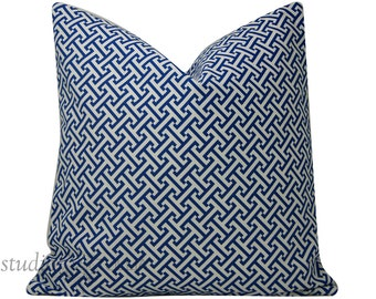 Blue and White Greek Key - Decorative Pillow Cover - 20 inch - geomtric - navy blue and white - ready to ship