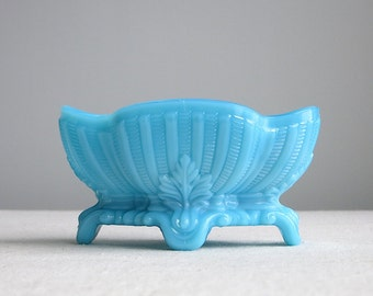 Vintage Turquoise Blue Milk Glass Dish - Small Footed Oval Bowl - Soap Dish Candy