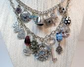 Alice in Wonderland Charm Necklace,  Vintage Assemblage, Found Object