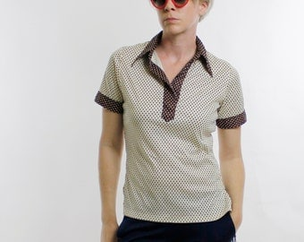 Vintage 60's polyester pullover top, off white & brown, tiny polka dots, shirt collar, V-neck, short sleeves, waitress / uniform top - Med