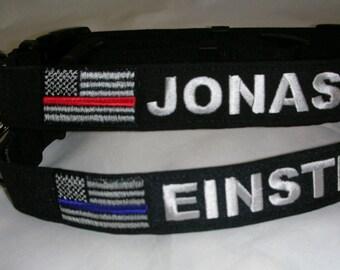 THIN BLUE LINE Custom Personalized Dog Collar