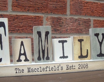 Shabby chic solid pine wood primitive family established personalized  wooden blocks shelf sitters