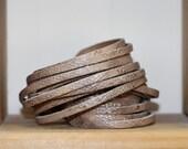 Leather  Wrap Bracelet, Multi Strand Leather Cuff, Python  Print Sliced Cuff, Tan