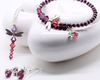 Purple Dragonfly Jewelry Set - Amethyst Crystals, Dangle Earrings, Pendant Necklace, Cats Eye Beaded Bracelet, 3 Piece Set