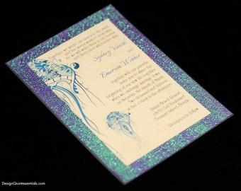 Iridescent Seahorse Wedding Invitation, Glitter, Special Shining Paper