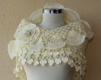 Ivory Gold Wedding Shawl, Crochet Shawl, Bridal Shawl, Wedding Cover Up, Bridesmaid Shawl, Bridal Shrug Shawl Bolero, Bridal Accessories