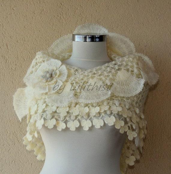 Ivory Gold Wedding Shawl, Crochet Shawl, Bridal Shawl, Wedding Cover Up, Bridesmaid Shawl, Bridal Shrug Shawl Bolero, Bridal Accessories