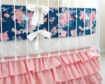Pink and Navy Baby Girl Bedding, custom crib bedding,  navy and pink floral baby bedding,  Navy white pink modern nursery  by lottiedababy