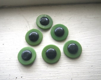 "Six Green & Black Art Deco Garter Buttons 1""  Bakelite Fabric Center Shank on Back - Flapper"