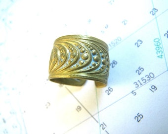 Victorian Stamped Brass Ring Wide Band Size 6