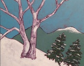 winter landscape painting, snow scene, ski trail with mountains, framed, FREE SHIPPING us only