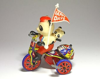 Vintage Tin Litho Tricycle with Panda Bears Wind Up Toy MTU - circa 1950's