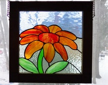 Daisy Stained Glass Panel, Framed in Oak