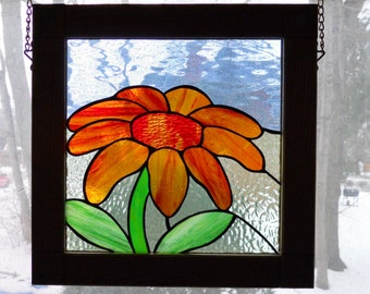 Daisy Stained Glass Panel, Framed in Oak