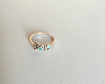turquoise + silver love ring