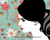 DIGITAL ILLUSTRATION - Ms Evelyn 5x5 inch, retro inspired silhouette portrait, stylised B&W, coloured floral background