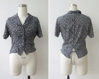 1990's Crop Top, Button Up Blouse, Tie Back Ditsy Floral Top, Black and White Blouse M