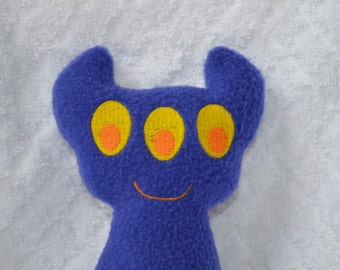 Handmade Stuffed Blue Horned Monster - Fleece, Child Friendly machine washable softie plush