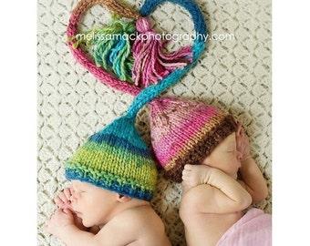 Newborn Twin Hats, Knit Twin Baby Elf Hats, Knit Baby Hats, Newborn Stocking Hat, Knit Stocking Hat, Newborn Photo Prop