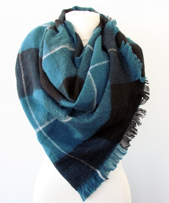 Teal green plaid blanket scarf scottish tartan scarf mens scarf gift for him gift for her unisex Christmas gift for dad boyfriend  gift