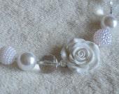 Girls' Chunky Beaded White Necklace: LDS Baptism Necklace