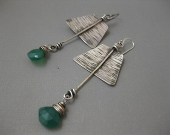 Green Onyx Leaf Sterling Silver Earrings