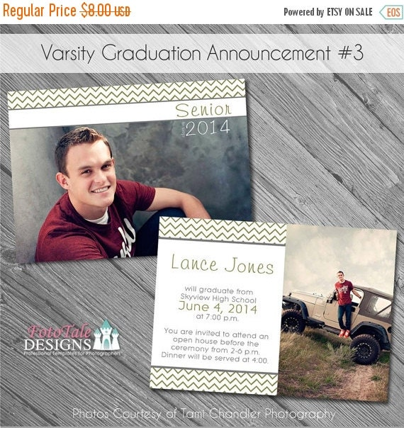 SALE INSTANT DOWNLOAD - Varsity Graduation Announcement No. 3- custom photo templates on Whcc, Miller's Lab and ProDigitalPhotos Specs