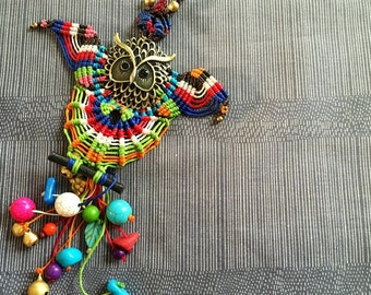 Owl with colorful gems beads wax string  necklace