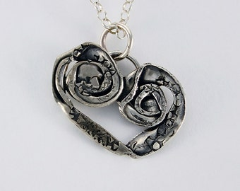 Handcrafted Sterling Silver Heart Free Form Organic Hand Stamped Stylized One of a Kind Artisan Jewelry Design 9925562422316
