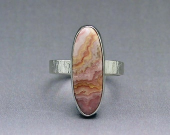 Size 10 Ring Handcrafted Sterling and Oval Rhodocrosite  Natural Stone Lacey Shades of Pink Artisan Jewelry One Of A Kind Design 106952215