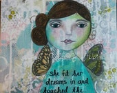 Angel Art Print/ Angel Painting /mixed media art / fit dreams in