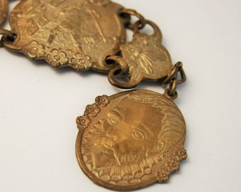 Vintage historical souvenir bracelet. Don Quixote. Brass