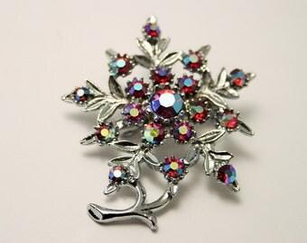 Vintage crystal flower brooch. Red aurora borealis brooch