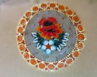 Gold Mosaic Poppies Brooch Stone Inset Round Gold Casing Orange Red Poppies Orange Glass Circle Border