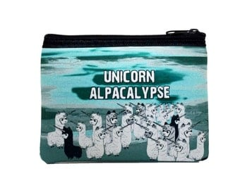 Unicorn Alpacalyse Funny Alpaca Zipper Coin Purse