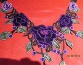Purple and Green Applique, velvet flowers applique, neckline applique
