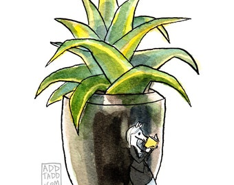 Office Reader -- Horse with Book -- Potted Plant -- Digital Watercolor Print -- Fun Family Art