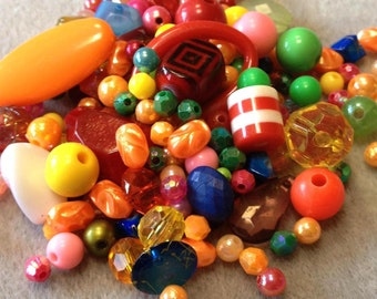 Fiesta - Acrylic Bead Mix - Rainbow of Colors - OVER 150 Beads