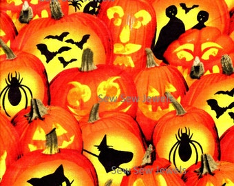 Halloween Jack-O-Lanterns Witches Ghost Spiders And Bats*Fabric