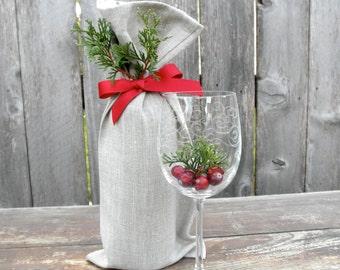 Holiday Wine Bag, Linen Wine Bag, Christmas Wine Gift Bag, Bottle Bag, Gift Bag, Tote