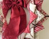 """SALE---14"""" Fabric Christmas Wreath, Holiday Wreath, Christmas Decor, Door Wreath"""