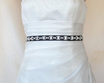 Elegant Eyes Rhinestone Beaded Wedding Dress Sash Belt On a Black Ribbon