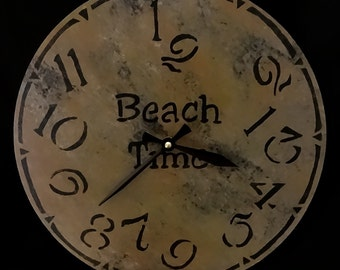 12 Inch BEACH TIME CLOCK in Warm Sandy Shades with Charcoal and Jumbled Numbers