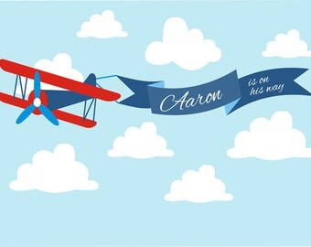 Red airplane Personalized Printable Backdrop