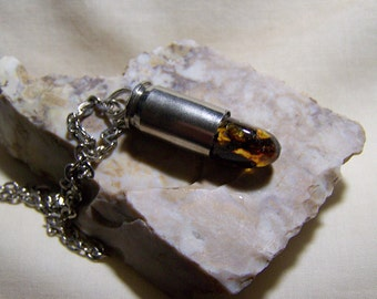Dominican Amber Silver Bullet Jewelry Pendant
