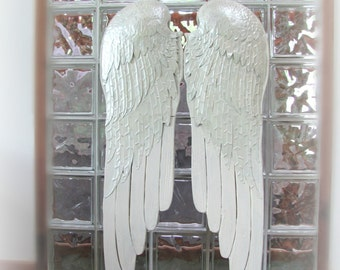 LARGE Angel Wings, Extra Large Antique White Wood And Metal Angel Wings, Shabby Chic Pair of Wings